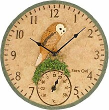 Eule Wanduhr und Thermometer