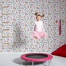 Eulen auf einem Ast Kinder/Tapete Kinderzimmer Rosa, Blau, Gelb und Weiß Rolle, die ganz