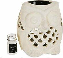 Eulen Duftlampe aus Keramik mit Lavendel Duftöl