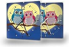 Eulen - Moderne Wanduhr mit Fotodruck auf Polycarbonat   Fotouhr Bilderuhr Motivuhr Küchenuhr modern hochwertig Quarz   Variante:30 cm x 30 cm mit schwarzen Zeigern