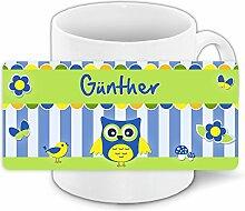 Eulen-Tasse mit Namen Günther und schönem