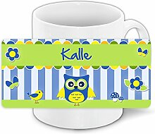 Eulen-Tasse mit Namen Kalle und schönem