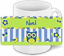 Eulen-Tasse mit Namen Noel und schönem Eulenmotiv