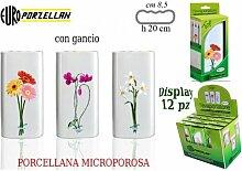 Euro Porzellan Verdampfer Top 10Floral Design Luftbefeuchter mit Haken, Porzellan, Weiß, 30x 8.5x 20cm