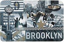 Eurofirany DY/BROOKLYN Badematte, bedruckt, Stoff, grau, 90 x 60 x 3 cm