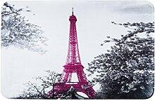 Eurofirany DY/EIFFEL Badematte, bedruckt, Stoff, grau, 90 x 60 x 3 cm