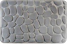 Eurofirany DY/PAUL/ST60 Badematte, Stoff, grau, 90 x 60 x 3 cm