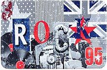 Eurofirany DY/ROCK Badematte, bedruckt, Stoff, grau, 90 x 60 x 3 cm