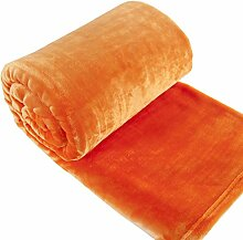Eurofirany KOC/SOFT/POMA 150x200 Decke Soft, flauschige, weiche Sofadecke, orange