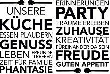 Eurographics Aufkleber Unsere Küche, Schwarz, 50x 70cm