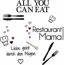 Eurographics Restaurant Mama Aufkleber, Schwarz, 25x 35cm