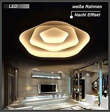 Eurohandisplay LED Deckenleuchte 6075 Rosa Design mit Fernbedienung Lichtfarbe/Helligkeit einstellbar Acryl-Schirm weiß lackierte Metallrahmen (6075MG ∅xH 620x80mm LED 80W)