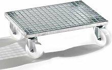 EUROKRAFT Gitterrost-Transportroller - Tragfähigkeit 500 kg - LxBxH 600 x 400 x 190 mm - Fahrgestell Transportgerät Universalfahrgestell Gitterrost-Fahrgestell Gitterrost-Fahrgestelle