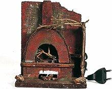 Euronatale Holzofen mit Feuer, 17 x 14 x 10 cm,