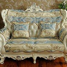 Europ?ische schonbezug sofa,Anti-rutsch-sofa hussen sofa abdeckungen für leder sofa sofa beschützer amerikanischen stil vier jahreszeiten tuch solide holz sofa handtuch-Blau 80x240cm(31x94inch)