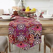 Europ?ische Tischl?ufer/Bett-banner/TV Schrank Tisch Blume drucken Tischfahne-B 35x220cm(14x87inch)