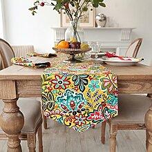 Europ?ische Tischl?ufer/Bett-banner/TV Schrank Tisch Blume drucken Tischfahne-A 35x180cm(14x71inch)