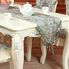 Europ?ische Tischl?ufer/Tischfahne Couchtisch/Anti-Rutsch minimalistischen Bett Flagge/Stickerei Tisch Tuch Tischdecke-B 35x200cm(14x79inch)