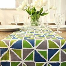 Europ?ischen Stil geometrischen Mustern Leinwand Tischl?ufer/Tischfahnen/TV-Schrank/Bett Ende Flagge-A 35x160cm(14x63inch)