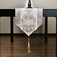 Europ?ischen Stil Luxus Tischl?ufer/Spinnen Stickerei Tisch-Tischl?ufer/ischdecke / Tischdecken / Tischabdeckung/Kaffeetisch Flagge-A 32x260cm(13x102inch)