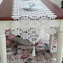 Europ?ischen Stil Spitze durchbrochenen Tischl?ufer Tisch/Kaffeetisch Flagge/Einfache wei?e Prinzessin verziert lange Tischl?ufer-A 40x150cm(16x59inch)