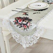 Europ?ischen Stil Spitze Tischl?ufer/Digitaldruck im modernen minimalistischen TV Schrank Tischl?ufer-A 45x150cm(18x59inch)