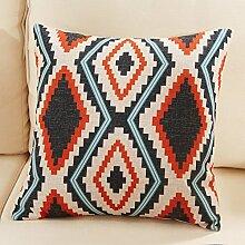 Europa und Amerika geometrische Baumwolle Kissenbezug/Sofa/Bett/Büro/Kissen F?lle-J 45x45cm(18x18inch)versionA