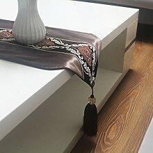 Europäisch chinesische art brown table flag mode einfache tabelle fine flag bett tischdecke tischläufer-A 30x200cm(12x79inch)