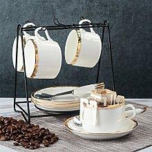 Europäisch Keramikbeschichtung Kaffeetasse Kaffeetasse Kreativ Einfache Haushalt 6er-set Löffel geschirrablage-E