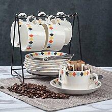 Europäisch Keramikbeschichtung Kaffeetasse Kaffeetasse Kreativ Einfache Haushalt 6er-set Löffel geschirrablage-L