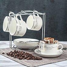 Europäisch Keramikbeschichtung Kaffeetasse Kaffeetasse Kreativ Einfache Haushalt 6er-set Löffel geschirrablage-B