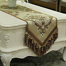 Europäisch luxus silk günstige blume table flag tee tischläufer bett-runner veranda tischläufer serviette zum dinner mat-B 33x240cm(13x94inch)