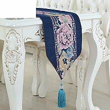 Europäisch luxus-tischläufer simple moderne chinesische art tabelle flagge tuch couchtisch deckchen tv schrank tischdecke-I 30x210cm(12x83inch)