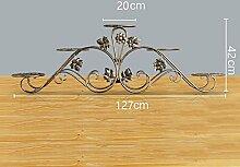 Europäisch - Stil Blumen Regal Eisen Balkon mehrstöckigen Boden - Stil modernen Wohnzimmer Boden Töpfe ( Farbe : Bronze color , größe : 127*20*42cm )