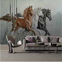 Europäische 3D Geprägt Pferd Wandbild Tapete