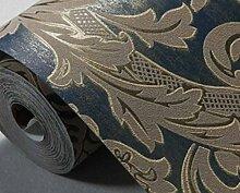 Europäische 3D Geprägte Goldfolie Tapete Vliestapete Im Wohnzimmer Kulisse Schlafzimmer,Blue