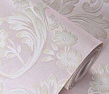 Europäische 3D Geprägte Vliestapete Wohnzimmer Schlafzimmer Esszimmer Hintergrund Retro-Tapete,Pink