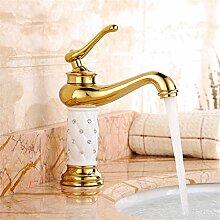 Europäische alle Kupfer Wasserhahn Waschtisch Armatur alle Kupfer heißen und kalten Wasserhahn im Waschbecken Wasserhahn
