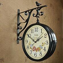 Europäische Antike Schmiedeeisen Doppelseitige Uhr Kreative Pastorale Wohnzimmer Große Wandkarte,-3