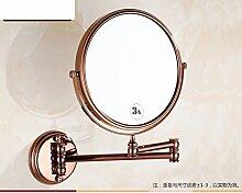Europäische antike Schönheit Spiegel/Alle Kupfer- und Gold-Spiegel/Dreifachfaltschließe Doppelseitiger Spiegel zum Vergrößern Wand-E