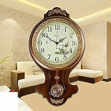 Europäische Antike Wohnzimmer Solide Holz Wanduhr/Pastorale Einfachheit Mode Quarzuhr-F 20zoll