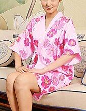 Europäische Art Baumwolle Männer und Frauen Kurze Hülse Superabsorbent Das Hotel hat Bademäntel Schweißdampf Service Sauna Kleidung Schnell trocknend Handtücher Badetuch Pyjama Bademantel ( farbe : E , größe : Xl )