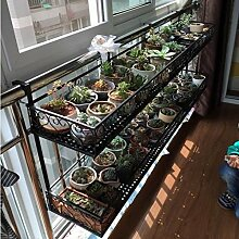 Europäische Art-doppelte Schicht-Geländer Blumen-Zahnstangen hängende Balkon-Vorhang-Eisen-mehrschichtiger Blumen-Topf-Rahmen fleischige Pflanzen-Zahnstangen ( größe : S )