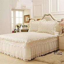 Europäische Art-Spitze-Prinzessin-Baumwollbettwäsche-Bett-Rock-Bett-Abdeckungs-Blätter (3 Stücke) ( farbe : #3 , größe : 150*200cm )