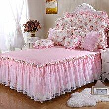 Europäische Art-Spitze-Prinzessin-Bett-Rock-Baumwollblatt-Tagesdecke (3 Stücke) ( größe : 180*200cm )