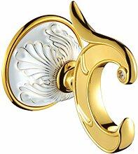 Europäische Badezimmer-Hardware Volles Kupfer-Badezimmer-Gold-Tuch-Zahnstangen-Satz,Hook