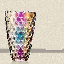 Europäische Bunt Glas-vase, Einfache moderne Blumenvase Für wasser pflanzen oder kaminsims wohnzimmer Esstisch-D