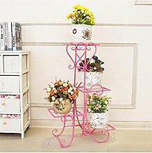 Europäische Einfache Blume Rack Eisen Mehrstöckige Wohnzimmer Balkon Massivholz Blumentöpfe Rack ( farbe : Pink )