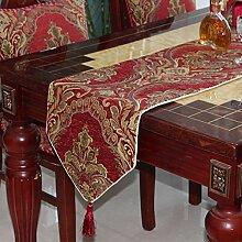 Europäische Einfache Tischläufer Tee Tischläufer Bett-runner Multifunktionale Tischfahne-A 35x240cm(14x94inch)
