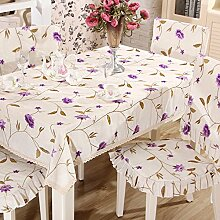 Europäische Garten Stickerei Tischdecke,Kunst Stickerei Tischläufer,Baumwolle Leinen Rechteckige Tischdecke,Polster Kissen-C Durchmesser148cm(58inch)